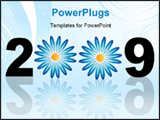 PowerPoint Template - Calendars New Year 2009 isolated on white flower