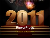 PowerPoint Template - 3d rendered image of a happy new year scene, 2011 on a gold podium with lights