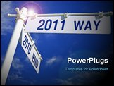 PowerPoint Template - street post with 2010 end and 2011 way signs