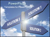 PowerPoint Template - metal signpost indicating three solutions against blue sky