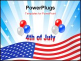 Illustrated text and red white and blue balloons design for Independence Day July 4th