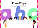PowerPoint Template - Letters, happy global kids; preschool world - children playing