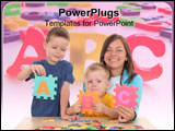 PowerPoint Template - children and mother playing with letters