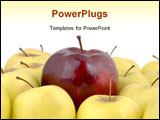 PowerPoint Template - a large red apple surrounded by yellow apples