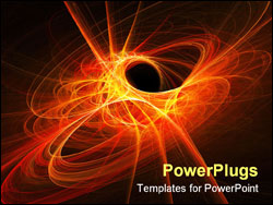 PowerPoint Template - space flame rays circle on dark background