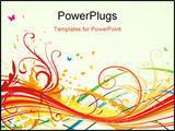 PowerPoint Template - it is illustration of abstract background with color curved lines and floral elements