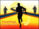 PowerPoint Template - abstract sport vector with silhouette of running man