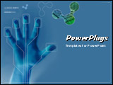 PowerPoint Template - Security Concept on blue background. Hand being scanned before entry