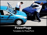PowerPoint Template - Traffic accident - one driver on the mobile phone second expressing anger