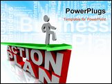 PowerPoint Template - A man rides an arrow symbolizing growth coasting on the success of an action plan