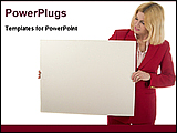 PowerPoint Template - woman holding blank advertising board