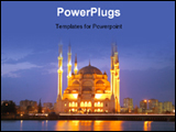 PowerPoint Template - The Mosque in Adana Turkey at Night.