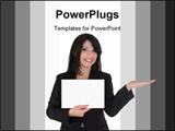 PowerPoint Template - Female with hand outstretched holding your product and displaying a message.