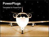 PowerPoint Template - Portrait of a corporate jet on the runway against an evening sky.