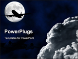 PowerPoint Template - Airliner flying with full moon and clouds silhouette square frame
