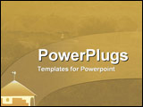 PowerPoint Template - Yellow ochre tones over a hazy african village