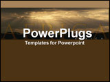 PowerPoint Template - Magnificent wide-angle view of an African plain  party lit by rays emerging from dark clouds