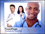 PowerPoint Template - African doctor smiling with coworkers.