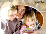 PowerPoint Template - Mother reads to daughters in the afternoon.