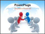 PowerPoint Template - wo sides sitting behind negotiation table. Red and blue person shaking hands. Concept of business o