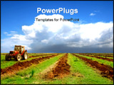 PowerPoint Template - a agriculture landscape with a big tractor