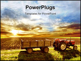 PowerPoint Template - a agriculture landscaped with a tractor and sunset