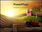 PowerPoint Template - Red barn and tractor on a farm with the sun rising over the horizon