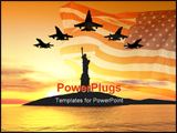 PowerPoint Template - Five jets over statue of liberty 3d illustration montage