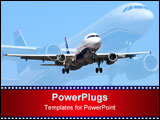 PowerPoint Template - A montage of a Airbus A-320 airliner approaching the runway to a busy airport.