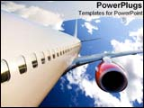 PowerPoint Template - Airplane flying in bright blue sky.