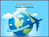 PowerPoint Template - Vector illustration of airplane travel on globe