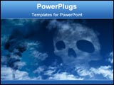 PowerPoint Template -  skull in the sky, symbolizing all the co2, waste and poison, wich is released by the industrial ma