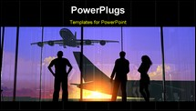 PowerPoint Template - Silhouettes of the people at the airport