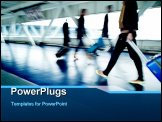 PowerPoint Template - Airport rush - people with their suitcases walking along a corridor