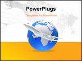 PowerPoint Template - 3d rendered illustration of a global and a plane