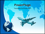 PowerPoint Template - global transportation concept of airplane over world map