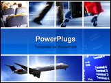 PowerPoint Template - Transport concept with airplane and people in in action