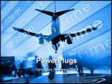 PowerPoint Template - an airliner on final approach in composite with airport arrival times. image is black and white.
