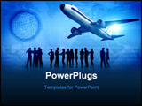 PowerPoint Template - a graphic work about travel and journey. people waiting in airport
