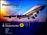 PowerPoint Template - mage of a plane flying into the sunset against and abstract representation of a departure board at
