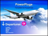 PowerPoint Template - plane landing or flying away. plane-sky. plane. sky and clouds.