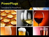 PowerPoint Template - Set of different alcohol drinks photos square crop