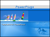 PowerPoint Template - Boats on the beautiful beach and a couple holding lilos