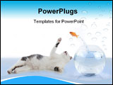 PowerPoint Template - cat wants to get a fish, jumping out his glass