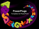 PowerPoint Template - colorful 3d alphabet letters vector background and sample text