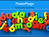 PowerPoint Template - colorful letters on blue board - education concept
