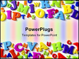 PowerPoint Template - Macro composition of many colorful plastic toy letters