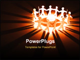 PowerPoint Template - A closeup of some paper dolls with a candle in the center