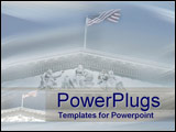 PowerPoint Template - Grand symbols of American values of law and justice stand above the US Supreme Court building
