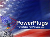 PowerPoint Template - American colors with Attack on America text and World Trade Center explosions